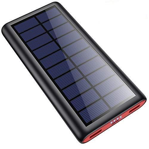 SWEYE Cargador Solar 26800mAh,【Cable de Datos/Luz Solar, Carga 2 en 1】 Batería Externa Solar de Carga Rápida con 2 Puertos USB Power Bank Portátil con Estilo para Smartphones, Tabletas