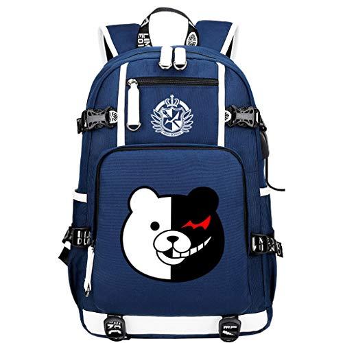 FDC-KC Danganronpa: Trigger Happy Havoc Mochila para Portátil Hombres Mochila De Carga USB Antirrobo para Adolescentes Mochila De Viaje Impermeable para Hombre Blue 48X30X15CM