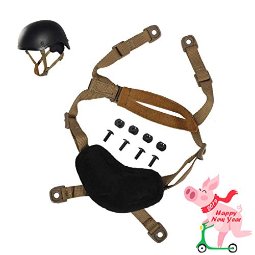 Airsoft Helmet Strap, Tactical 4 Points Chin Strap w/ Screws & Nuts for Fast ACH MICH Helmet, X-Nape Pad Harness, Black