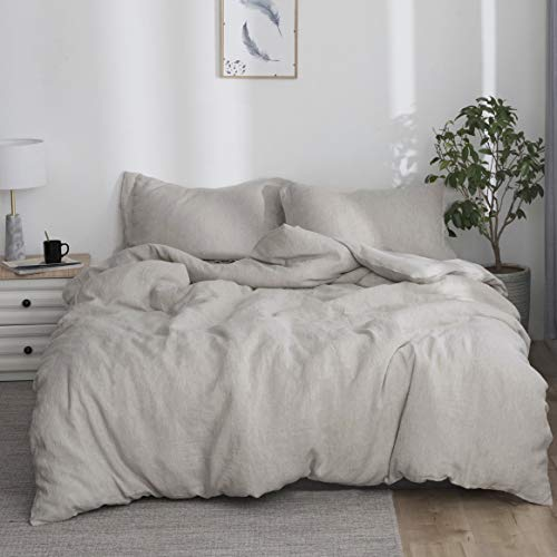 Simple&Opulence 100% Linen Duvet Cover Set 3pcs Stone Washed Natural French Flax Basic Style Solid Color Bedding with Button Closure (Queen, Linen)