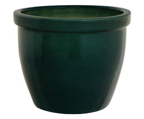 K&K Blumenkübel / Pflanzgefäß / Blumentopf / Pflanzkübel Venus II , 36 x 26 cm, grün-glänzend aus Steinzeug-Keramik (hochwertiger als Steingut)