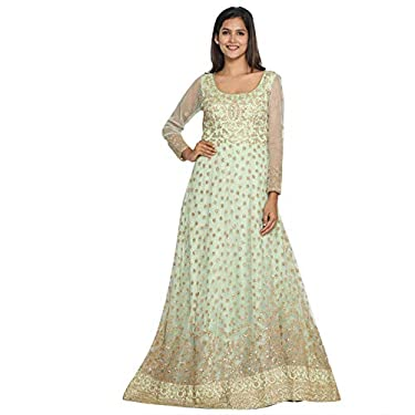 MOHEY Women's Net Embroidered Smart Long Gown Stitched Suit (Green)