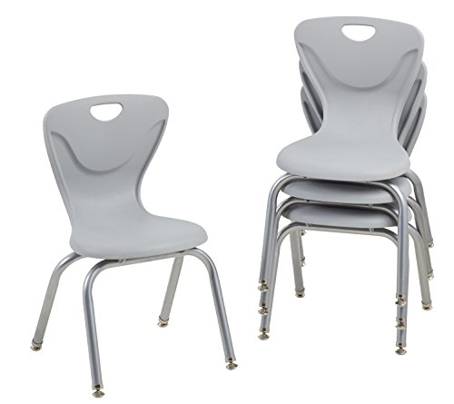 FDP-10374-LG 14' Contour School Stacking Student Chair, Ergonomic Molded Seat Shell with Chromed Steel Frame and Swivel Leg Glides; for in-Home Learning or Classroom - Light Gray (4-Pack)