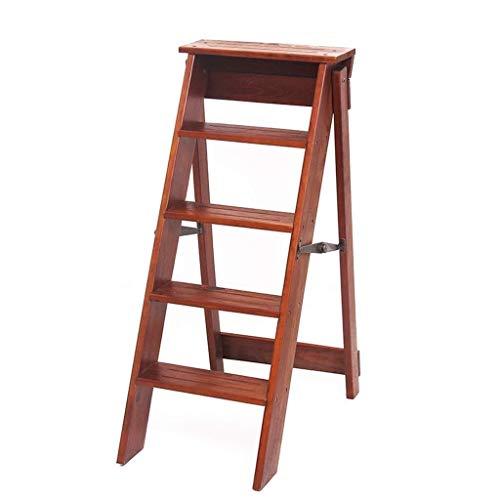 Multifunctionele ladder Vijf stappen ladders beklimmen, Indoor Houten Ladder Office Stepladders Garden Solid Wood Ladder/zwart, bruin 2 Coloues Huishoudelijke ladder Ladder huis vouwen