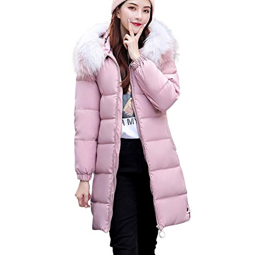 Dasongff wollen mantel wintermantel dames lange volle kleur volledige ritssluiting met capuchon outdoor winddichte herfst winter warme trenchcoat outwear meisjes casual slank outdoor wild coat Large roze