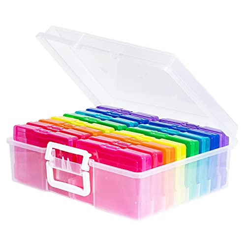 """novelinks Transparent 4"""" x 6"""" Photo Cases and Clear Craft Keeper with Handle - 16 Inner Cases Plastic Storage Container Box (Multi-Colored)"""