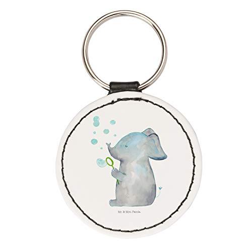 Mr. & Mrs. Panda Taschenanhänger, Anhänger, Rund Schlüsselanhänger Elefant Seifenblasen - Farbe Weiß