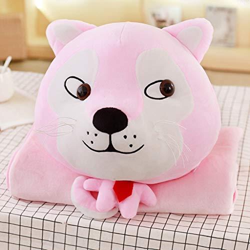 Diaod Divertido Encantador Cara Perros Almohada Peluche Juguetes Siesta Mantel Manos cálido mantón Felpa niños niña cumpleaños Presente Perro Cabeza muñeca (Color : Pink)