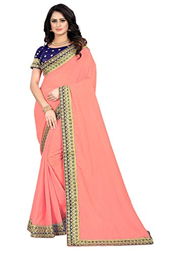 Indian Silk Sari with Frill and Light Color Saree for Women (Unstitch Blouse) (Pink)