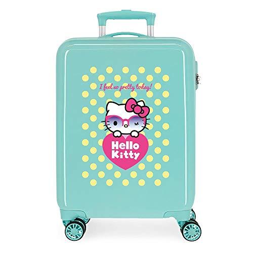 Hello Kitty Pretty Glasses Maleta de cabina Verde 38x55x20 cms Rígida ABS Cierre de combinación lateral 34L 2,66 kgs 4R Equipaje de Mano