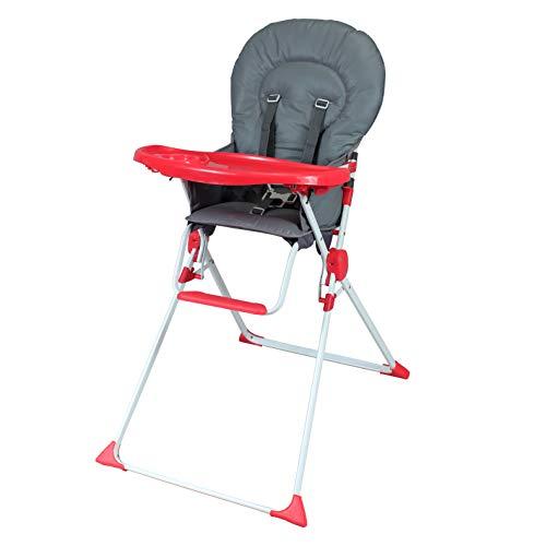 Bambisol - Chaise Haute Fixe Bébé - Ultra Compacte et Légère, Tablette Amovible Réglable (Gris Rouge)