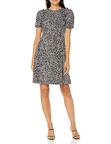 Lark & Ro Women's Florence Puff Half Sleeve Empire Waist Fit and Flare Dress, BLACK/IVORY POLKA DOT, 10