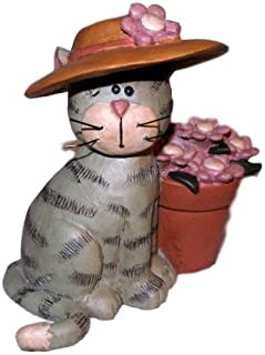 Grey Tabby CAT in Pretty Hat w/ Pink Daisy Flowers in Pot Resin Figurine