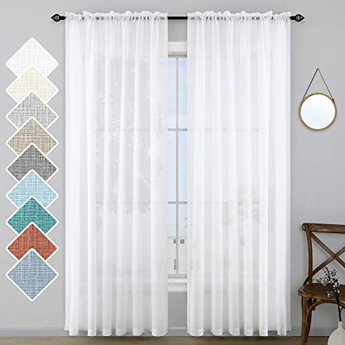 White Curtains 108 Inch Long for Living Room Set 2 Panel Rod Pocket Light Filtering Window Drape Faux Linen Semi Sheer Curtains for Bedroom Outdoor Patio Sliding Glass Extra High Ceiling 52x108 Length