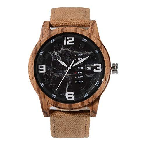 Dilwe herenhorloge, kwarts, hoogwaardig, armband van hout, prachtige hoes, organisch glas, casual