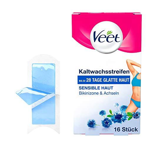 Veet Kaltwachssstreifen Easy-Gelwax Technology für die Bikinizone & Achseln für sensible Haut, 1er Pack (1 x 16 Stück)