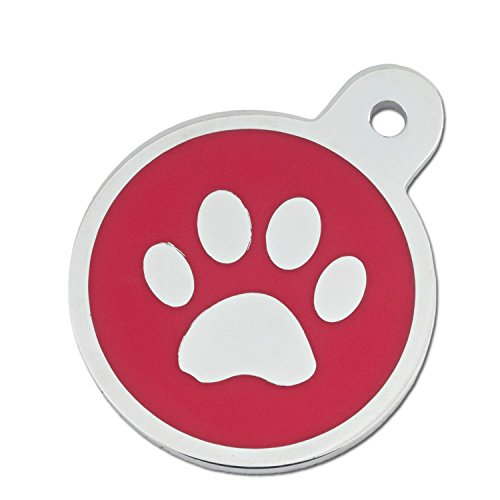 Quick-Tag Large Red Paw Circle Personalized Engraved Pet ID Tag, 1 1/4' W X 1 1/2' H