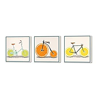 ArtBones Lemon Bike Bicycle Picture Canvas Wall Art Kitchen Orange Fruit Food Pictures Wall Painting Stretched Framed Giclee Art Print Restaurant Home Dining Room Wall Decoration 12 x12 x 3 Panels