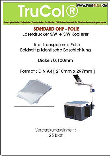 Print4Life 200 Blatt A4 Overheadfolien Overhead (OHP) Folie transparent-glasklar für s/w Laserdrucker und s/w Kopierer