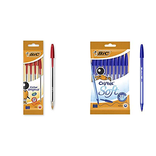 BIC Cristal Original - Bolígrafo de punta redonda, color rojo, pack de 4 unidades + Soft Bolígrafos Punta Media (1,2 mm) con escritrua suave - Azul, Blíster de 10 Unidades