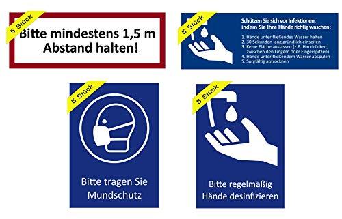 5 stickers regelmatig handen ontsmetten, waarschuwingsbord voor handdesinfectie en handhygiëne. Voordeelset