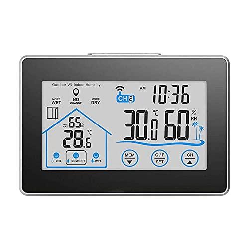Gmasuber Sensor inalámbrico al aire libre del reloj de la estación meteorológica de la humedad de la temperatura
