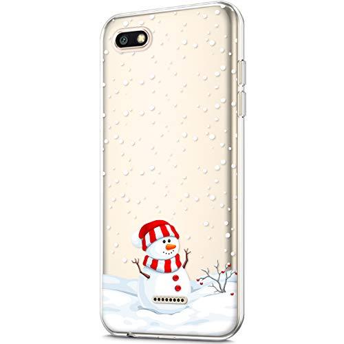 Urhause Funda Xiaomi Redmi 6A,Carcasa Xiaomi Redmi 6A.KunyFond Transparente TPU Christmas Pintado Nieve Bumper Anti-Golpes Fundas Case Cover Caso para Xiaomi Redmi 6A-Muneco Nieve