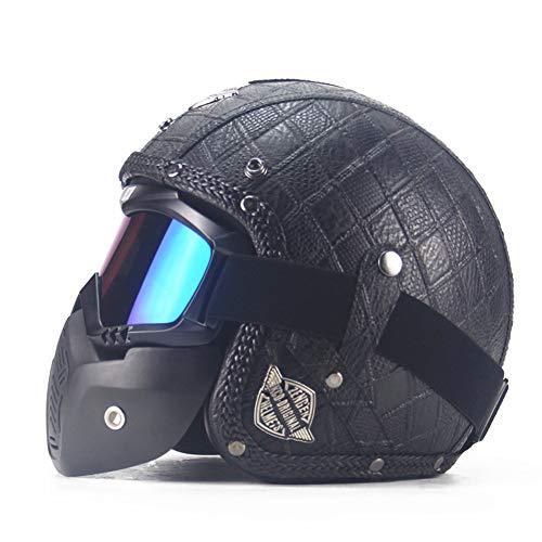 CARACHOME Casco De Motocross con Gafas Desmontables, Casco Moto Vintage A Prueba...
