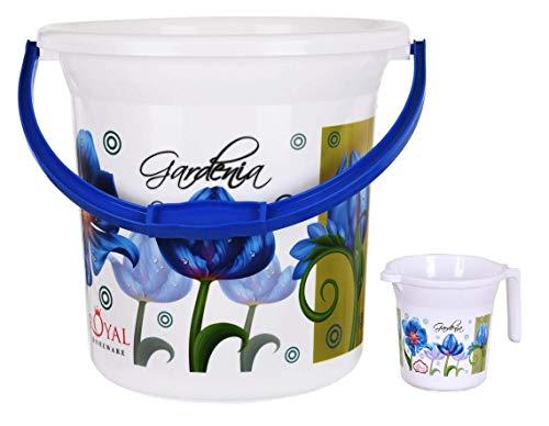 Fuscia Plastic Bathroom Bucket, Multicolour, 18 L (1 Bucket and 1 mug)