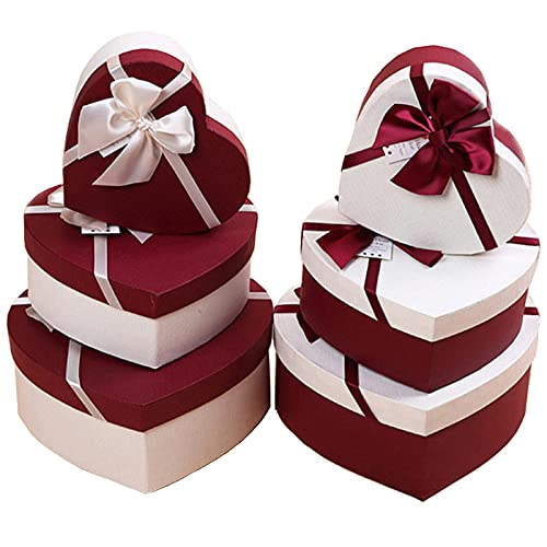 Herzförmige Geschenkbox Mit Deckel Packmaterialien Geschenkverpackungen Geschenkkartons Geschenkbox Mit Schleife 3 Verschiedene Größen Ineinander Für Hochzeit Geburtstag Weihnachten(Zufällige Farbe)