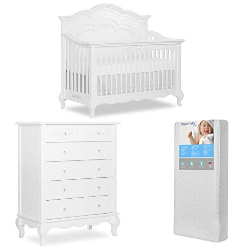 Amazing Deal Evolur Aurora 5-in-1 Convertible Crib & Tall Chest with Free 260 Coil Crib/Toddler Matt...