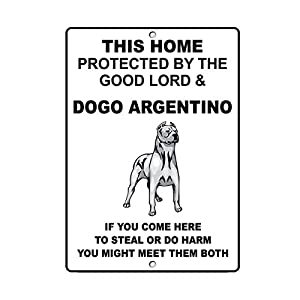 Fastasticdeals Dogo Argentino Dog Home Protected by Good Lord and Novelty Metal Sign 7