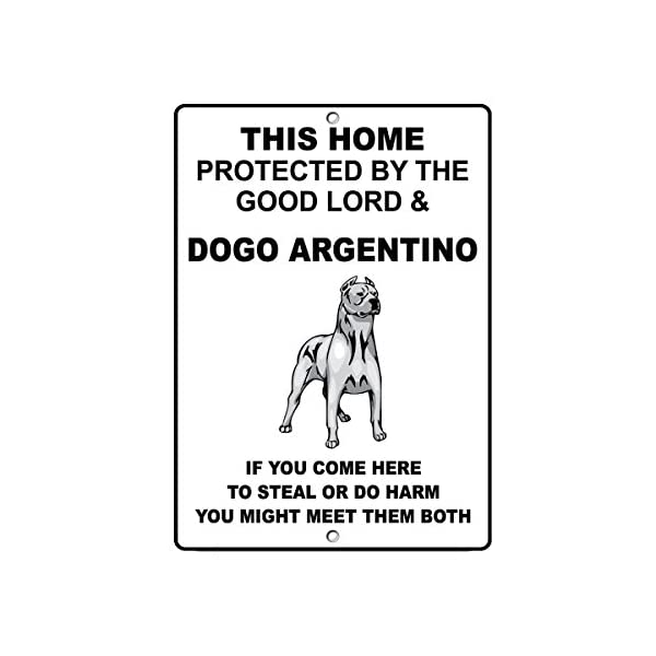 Fastasticdeals Dogo Argentino Dog Home Protected by Good Lord and Novelty Metal Sign 1