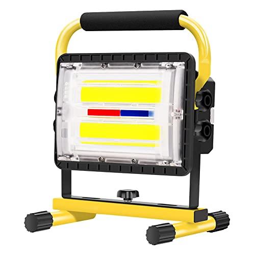 Guiseapue Foco LED Bateria 60 W, Foco de Trabajo LED, Foco Portatil LED Recargable, Capacidad de Batería de 20800 mAh, Para Taller, Construcción, Garaje, Iluminación Exterior para Camping