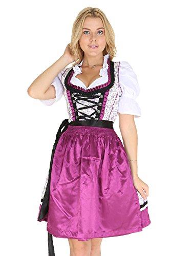 Bavarian Clothes Trachtenkleid Kleid 3 Teilig mit Dirndl Dirndlbluse Schürze mit Blumen verziert Gr: 40 in violett schwarz Wiesn Midi Oktoberfest