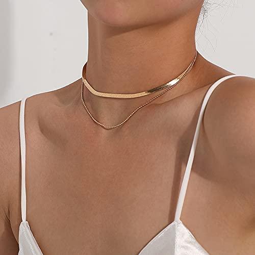 MIKUAB collarVintage Bohemia Moneda de Oro Collar de Cadena en Capas con Letras para Mujer Shell Pearl Moon Gargantilla Larga Collar Colgante Collar de Mariposa