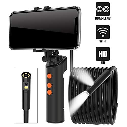 RUMIA Endoskopkamera mit licht, Industrie Endoskopkamera,1080P HD 8 mm Endoskop,4,3 Zoll Bildschirm Inspektionskamera mit 5 Meter halbsteif Kabel,8 LEDs IP67 Wasserdicht Rohrkamera Kanalkamera