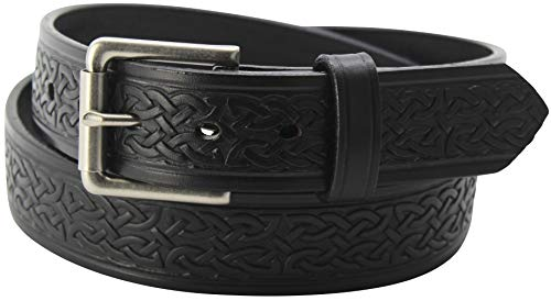 Men's Black Leather Celtic Belt – Embossed Design - Premium Belts, 48 Inches