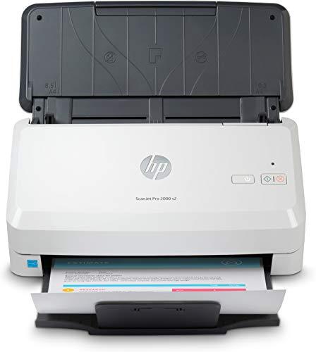 HP ScanJet PRO 2000 s2 6FW06A, Scansione Fronte e Retro in Un Solo Passaggio, 35 ppm e 70 ipm, Professionale per Documenti e Immagini, Compatto, Piccolo e Sottile, Scan, Bianco