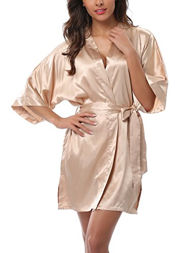 ABC-STAR Womens Short Satin Kimono Robe for Wedding Bridal Party Bridesmaid Robe, Champagne, M