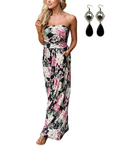 carinacoco Damen Bandeau Bustier Kleider mit Blüte Drucken Lange Sommerkleid Abendkleid Partykleid Cocktailkleid Schwarz Geblümt03