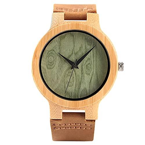 RWJFH Reloj de Madera Reloj de Pulsera de Cuero de Cuarzo con Esfera Redonda Verde de Moda para Hombre, Reloj de Madera de bambú Natural analógico Negro para Hombre, Regalos
