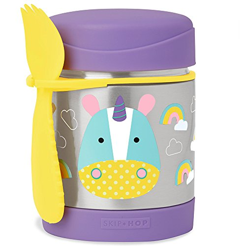 Skip Hop Insulated Food Jar: Stainless Steel Baby Food Container, Unicorn