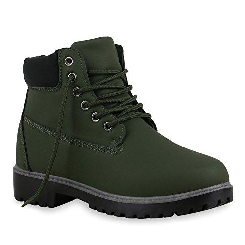 stiefelparadies Unisex Damen Herren Boots Bequeme Worker Boots Profilsohle Outdoor Schuhe 128434 Dunkelgrün Schwarz 40 Flandell