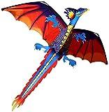 Xyy 3D dragón Cometa línea con la Cola de Cometas Aire Libre Divertido Cometa de Juguete Familia Juguete Deportivo Exterior niños Dinosaurio Cometa (Size : 22cm Kite Reel+400m Line)