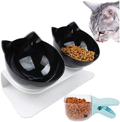 Legendog Futternäpfe Katzenfutter, 15 ° geneigt Doppel Schüsseln Mit Portionierer Rutschfest Kippen Katzen schüssel ,für Katzen und kleine Hunde - Schwarz 27,5 * 14 * 14 cm