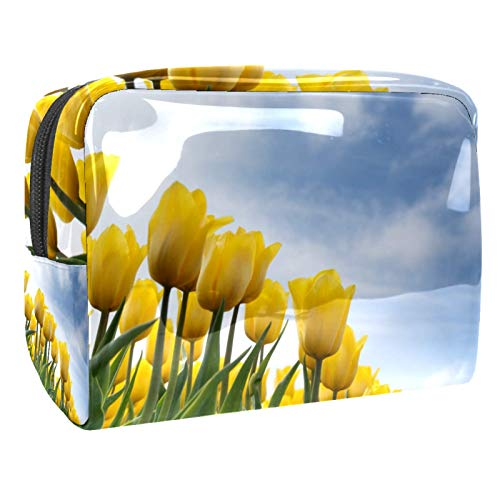 Portable Makeup Bag with Zipper Travel Toiletry Bag for Women Handy Storage Cosmetic Pouch Yellow Tulip Flower