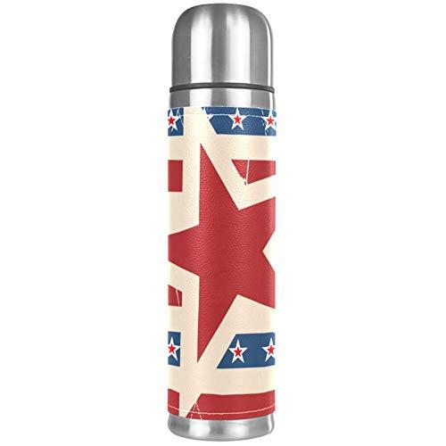 Thermos ThermoCafé Botella térmica aislada,Patrón de Rayas Y Estrellas Patriótico Americano,Frasco de Vacío de Acero Inoxidable 500 ml