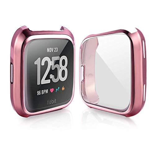 bandmax Compatibel voor Rainbow Fitbit Versa Bands LGBT, Nylon Fitbit Straps Accessoires Ademende Sport Polsband Versa Vervangende Band met Metalen Gesp, Case(Pink)