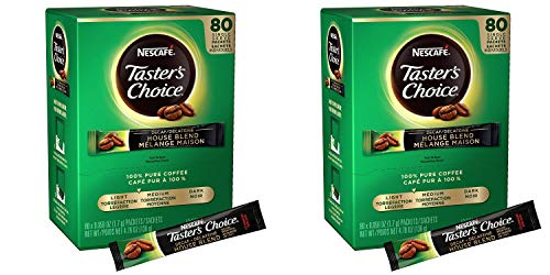 Nescafe Instant Coffee Packets, Decaf, Taster's Choice Light Roast, 1.7 g Singles (Pack of 80) Pack of 2